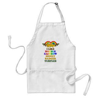 I Like Double Rainbow Honey Badger Turtles Adult Apron