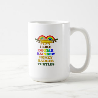 I Like Double Rainbow Honey Badger Turtles Coffee Mug