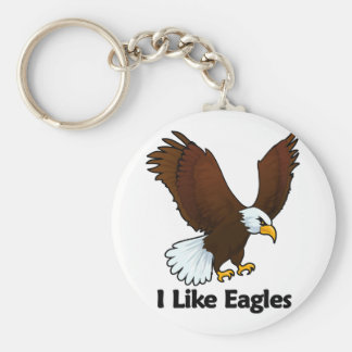 I Like Eagles Basic Round Button Keychain
