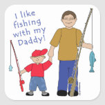 I Like Fishing With My Daddy Boy in Red Square Sticker