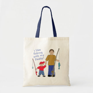 I Like Fishing With My Daddy Boy in Red Tote Bag