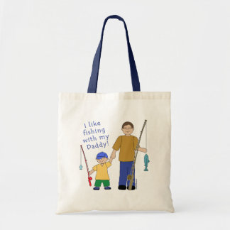 I Like Fishing With My Daddy Boy in Yellow Tote Bag