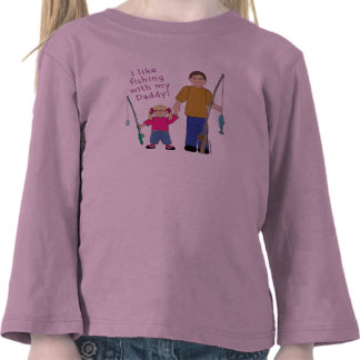 I Like Fishing With My Daddy Girl in Pink T Shirt