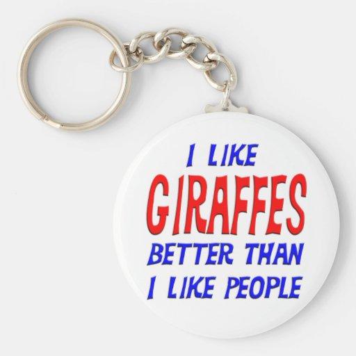 I Like Giraffes Better Than I Like People Keychain