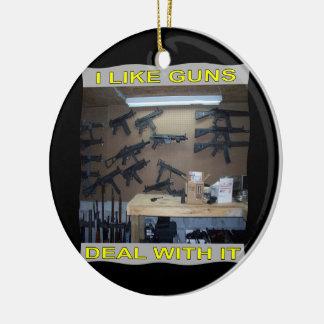 I Like Guns Deal With It Christmas Tree Ornament