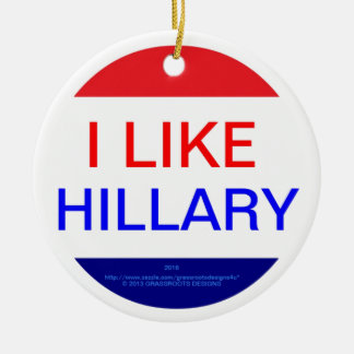 I LIKE HILLARY (MULTIPLE PRODUCTS) Double-Sided CERAMIC ROUND CHRISTMAS ORNAMENT