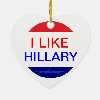 I LIKE HILLARY (MULTIPLE PRODUCTS) Double-Sided HEART CERAMIC CHRISTMAS ORNAMENT