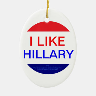 I LIKE HILLARY (MULTIPLE PRODUCTS) Double-Sided OVAL CERAMIC CHRISTMAS ORNAMENT