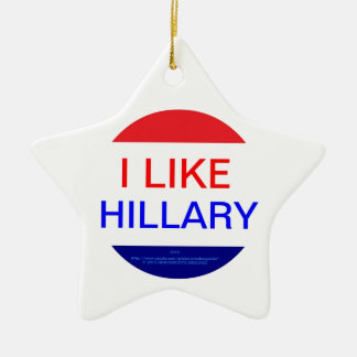 I LIKE HILLARY (MULTIPLE PRODUCTS) Double-Sided STAR CERAMIC CHRISTMAS ORNAMENT