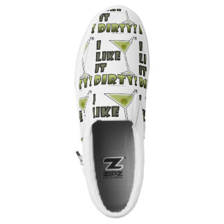 I LIKE IT DIRTY! Dirty Martini Cocktail Humor Slip-On Sneakers