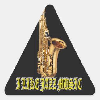 I Like Music Jazz  With Background Triangle Sticker