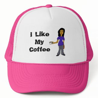 I Like My Coffee Latina Female Cartoon Trucker Hat