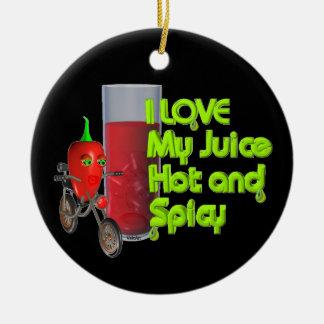 I like my juice Double-Sided ceramic round christmas ornament
