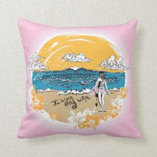 """I like MY life"" beach girl pillow"