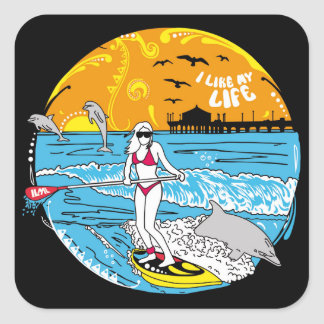 """""""I like MY life"""" stand-up paddle boarding stickers"""