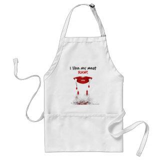 I like my meat raw. Fangs teeth blood vampire Adult Apron