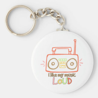 I Like My Music Loud Basic Round Button Keychain