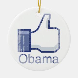 I LIKE OBAMA Vintage.png Double-Sided Ceramic Round Christmas Ornament