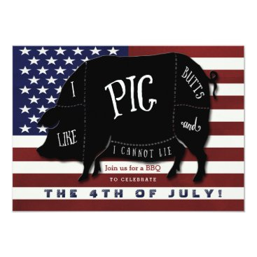 USA Themed I Like Pig Butts and I Cannot Lie 4th of July BBQ Card