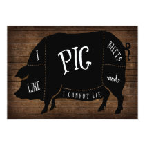 I Like Pig Butts and I Cannot Lie BBQ Wood Chalk Invitation