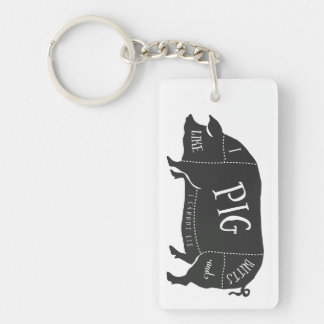 I Like Pig Butts and I Cannot Lie Keychain