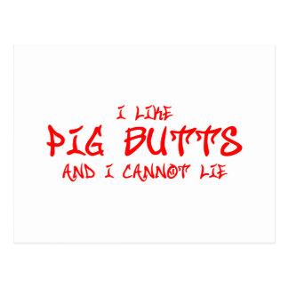 I-like-pig-butts-st-soul-red.png Tarjeta Postal