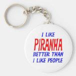 I Like Piranha Better Than I Like People Keychain