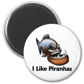 I Like Piranhas 2 Inch Round Magnet