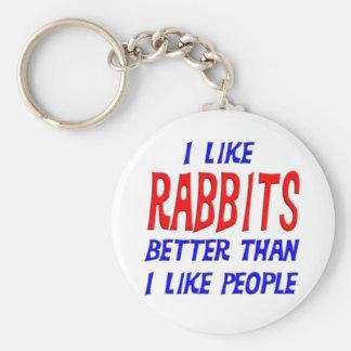 I Like Rabbits Better Than I Like People Keychain