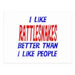 I Like Rattlesnakes Better Than I Like People Post Postcard