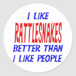 I Like Rattlesnakes Better Than I Like People Stic Classic Round Sticker