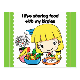 I like sharing food with my birdies postcard
