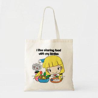 I like sharing food with my birdies tote bag