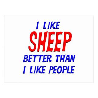 I Like Sheep Better Than I Like People Postcard