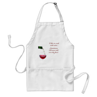 I like to cook,  with wine...,  S... Adult Apron