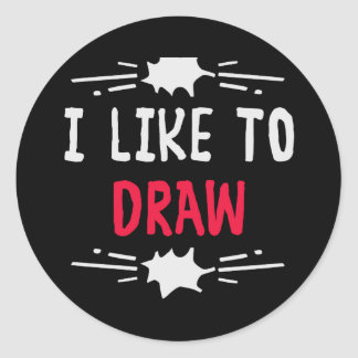 I like to draw classic round sticker