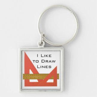 I Like to Draw Lines Keychain