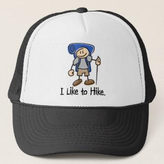 I Like to Hike Blue Backpack Shirt Trucker Hat