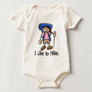 I Like to Hike Girl - Blue Backpack Baby Bodysuit