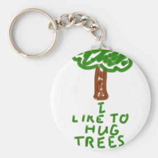 I Like to Hug Trees Basic Round Button Keychain