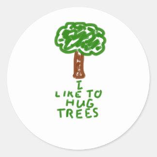 I Like to Hug Trees Classic Round Sticker
