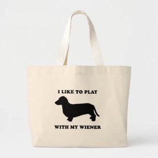 I like to play wiht my wiener jumbo tote bag