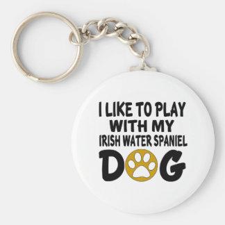 I Like To Play with My Irish Water Spaniel Dog Keychain