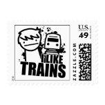 I like trains postage stamps