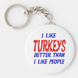 I Like Turkeys Better Than I Like People Keychain