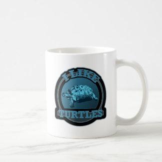 I Like Turtles Blue Circle Coffee Mug