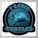 I Like Turtles Blue Circle Poster
