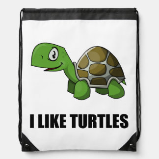 I Like Turtles Drawstring Bag