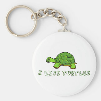I Like Turtles Green Cute Basic Round Button Keychain