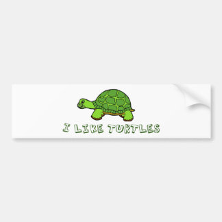 I Like Turtles Green Cute Bumper Sticker